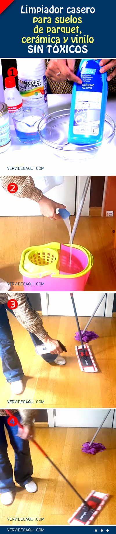 Limpiador casero para suelos de parquet, cerámica y vinilo. SIN TÓXICOS