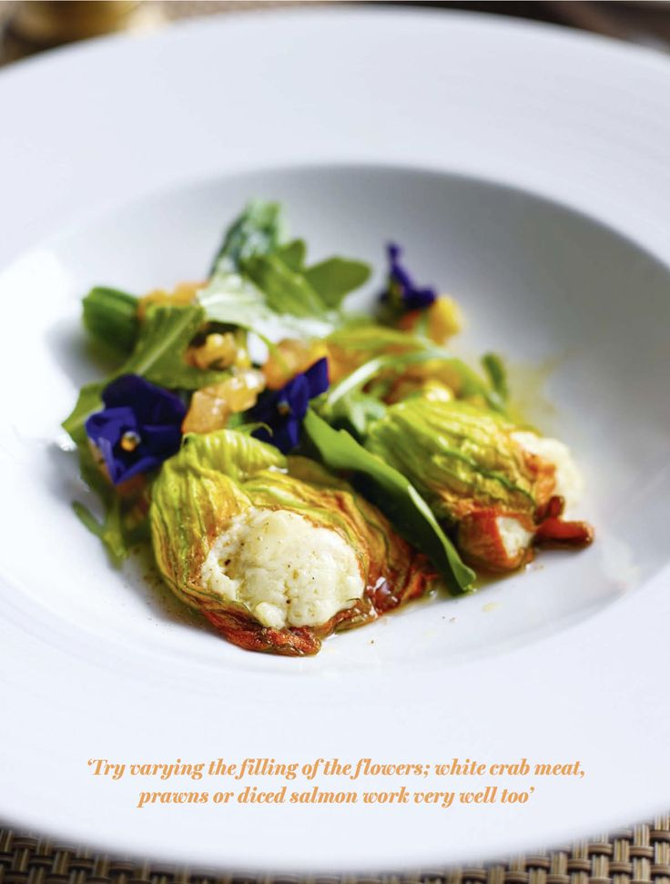 Steamed Courgette Flowers with Homemade Ricotta, Heritage Tomatoes and Corn Salad. Steaming at lower temperatures is ideal for delicate items such as courgette flowers