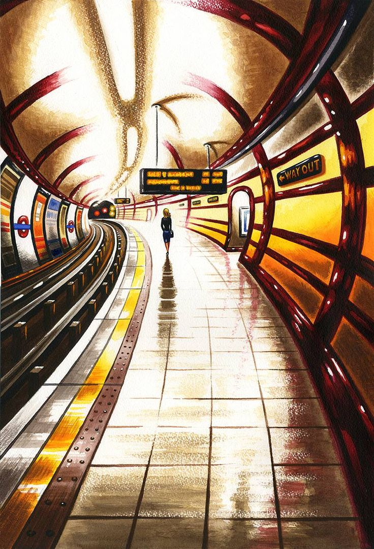 John Duffin RE, Tube Home, watercolour. A successful entry to the Contemporary Watercolour Competition at Bankside Gallery 2015.   Contact info@banksidegallery.com for further details and to purchase this work. See www.banksidegallery.com for other prints and paintings.