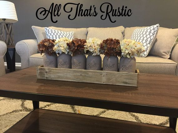 Large Mason Jar Centerpiece, Table Centerpiece, Table Decor, Kitchen Decor,  Rustic Home Decor, Painted Mason Jars, Centerpieces, Mason Jars - 25+ Best Ideas About Coffee Table Decorations On Pinterest