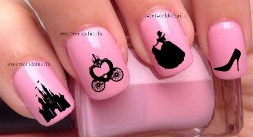 Nail Art Nail Water Decals/ nail Transfers/ Nail Wraps Disney Nail Art Cinderella Princess Nails on Etsy, 1,86€