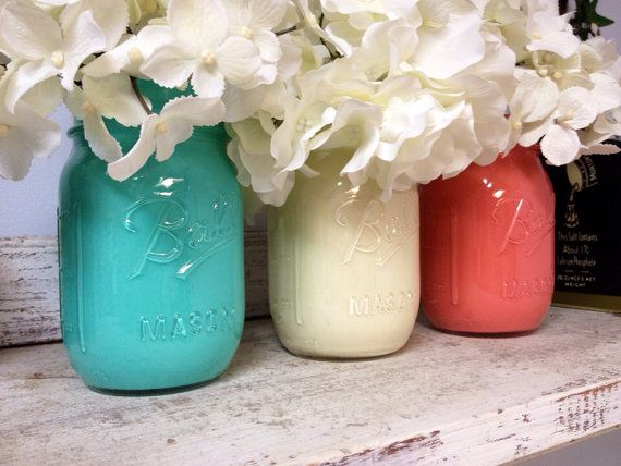 Painted Aqua, White, and Coral Mason Jars. Perfect for Gifts, Home Decorations, and Weddings. on Etsy, $24.00