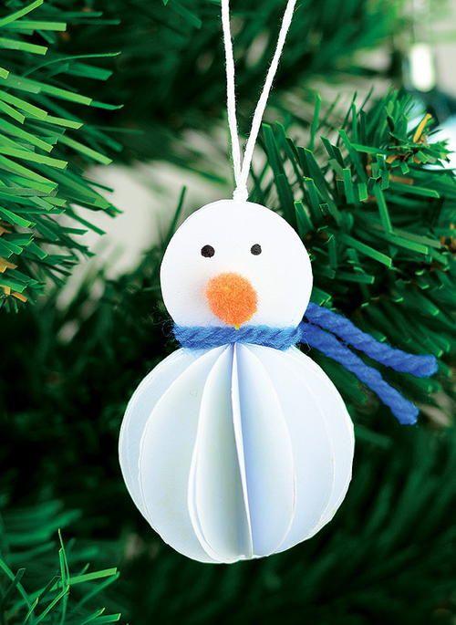 Paper Snowman DIY Ornaments   What a great paper craft idea!