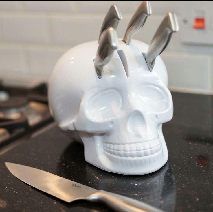 White Skull Knife Holder.