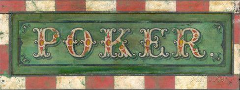 Poker Vintage Placa de madeira