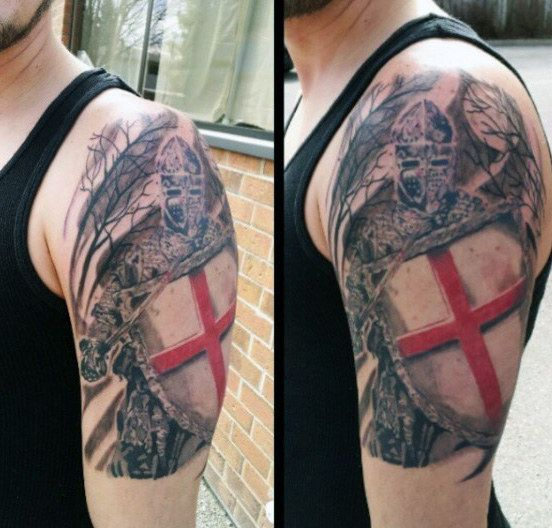 Male With Heraldy Knight Tattoos On Arm