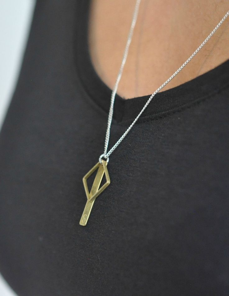 Necklace silver with brass square and tag