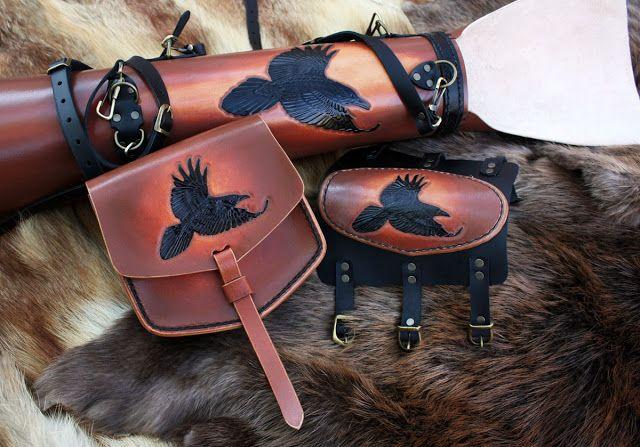 """комплект """"Вороны"""" (колчан, крага и поясная сумка). - HANDMADE_By (Красота своими руками)"""