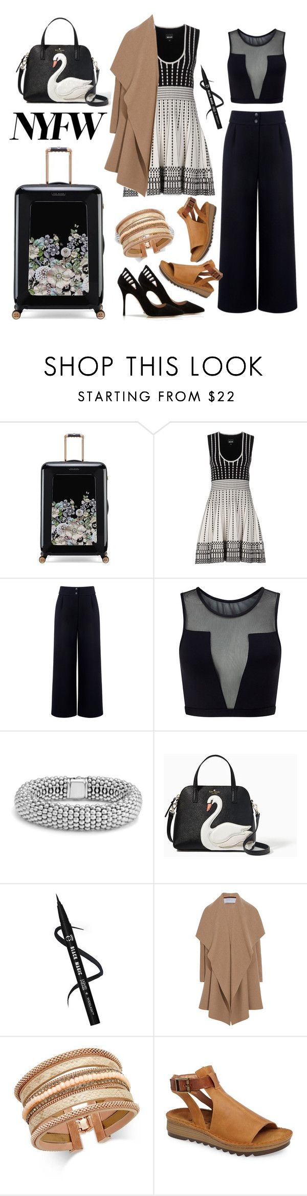 """""""2017 NYFW FEB."""" by princessbollywood ❤ liked on Polyvore featuring Ted Baker, Just Cavalli, Être Cécile, Varley, Manolo Blahnik, Lagos, Kate Spade, Harris Wharf London, INC International Concepts and Naot"""