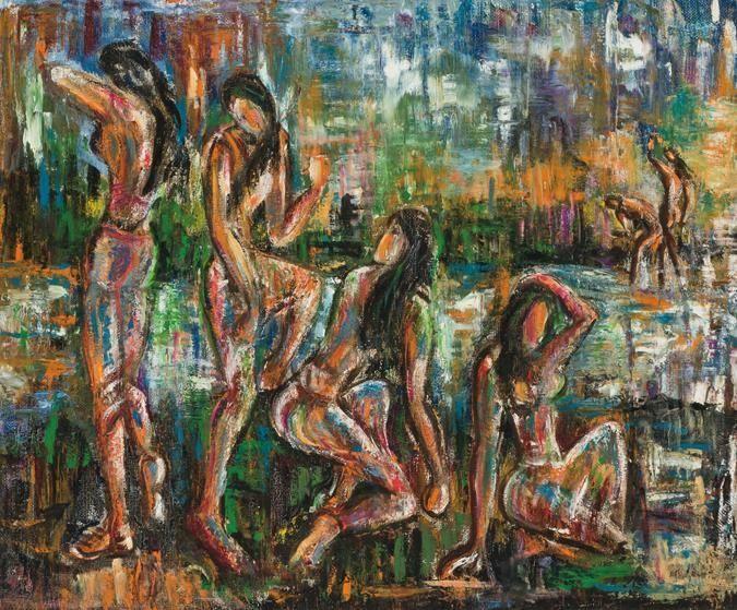'The Bathers' by Senaka Senanayake. Oil on canvas.