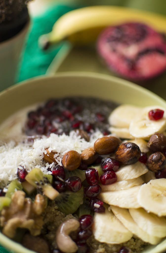 Quinoa bowl with chia seeds, nuts and fruits