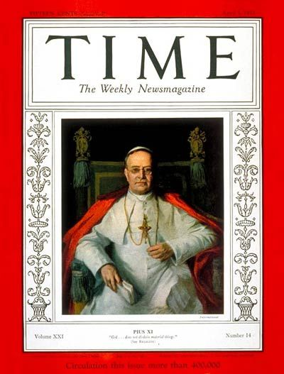 TIME Magazine Cover: Pope Pius XI - Apr. 3, 1933 - Pope Pius XI - Religion - Christianity - Popes - Catholicism