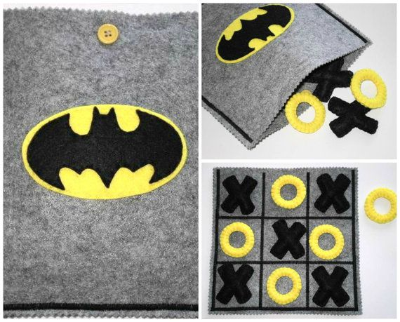 Batman tic tac toe game set. Are you looking for a last minute Christmas presente for your CHILDREN ? You found it! Have a look at my shop for more ready to ship TIC TAC TOES!!!