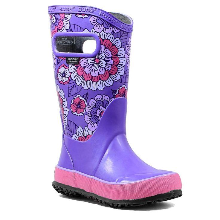 Bogs Kids' Pansies Waterproof Rain Boot Toddler/Pre/Grade School Boots (Violet Multi)