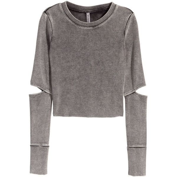 H&M Jersey crop top ($23) ❤ liked on Polyvore featuring tops, dark grey, h&m, ribbed top, crop top, jersey knit tops and h&m tops