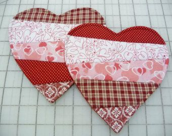 Heart Mug Rugs  - Coasters - Candle Mats - Set of Two - Ready to Ship