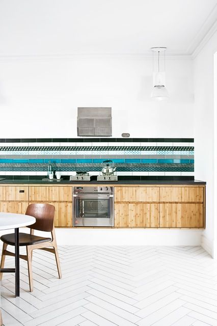 "Source: Made a mano  Made a Mano produce a brilliant range of tiles like the floor tiles shown here. They are called ""Incontro"" and based on that old wooden herringbone floor look. Check them out!"