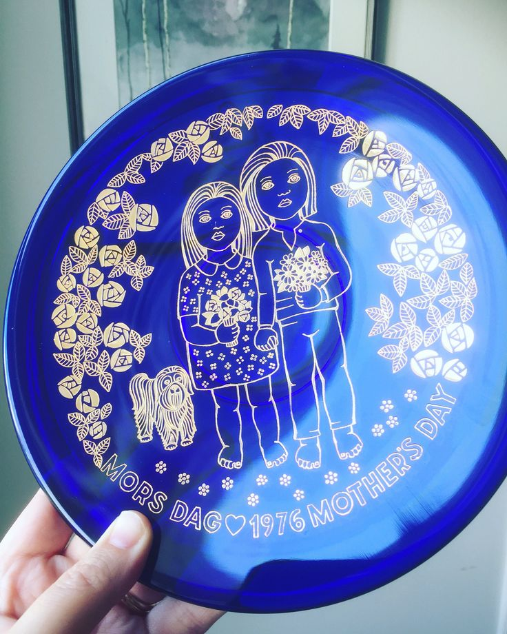 Orrefors/colbalt/blue/gold/1976/mors dag/mothers day/collectors/plate/Scandinavian/crystal/glass by WifinpoofVintage on Etsy