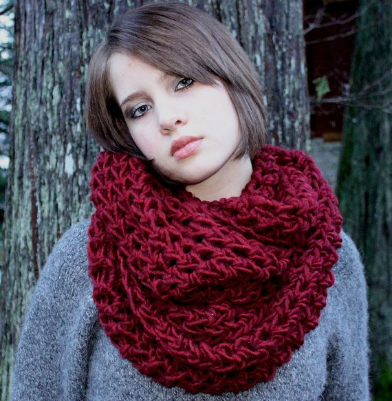 The Favorite Cowlneck scarf Chunky Wrap cranberry by BessetteArt