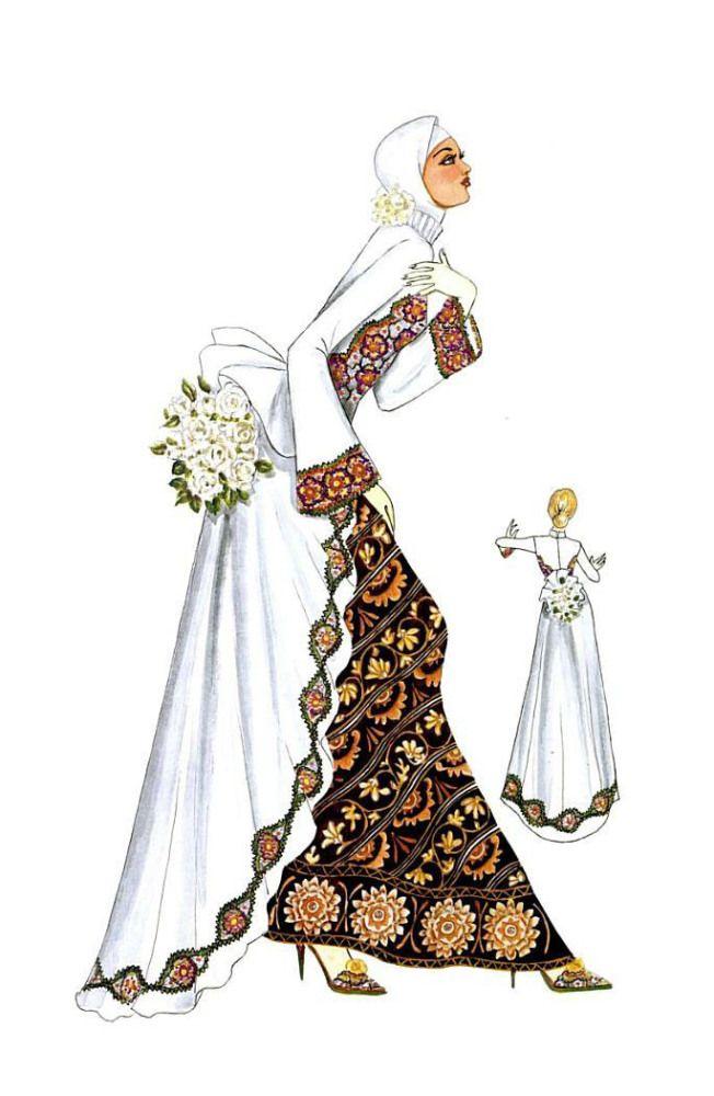 Sketch of Modern Kebaya with Batik
