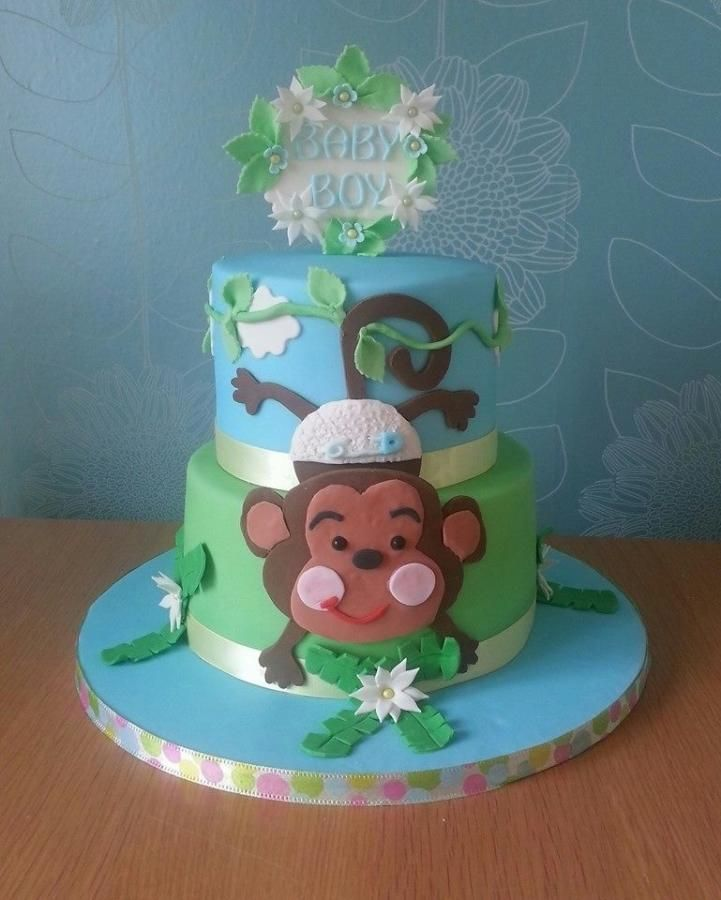 17 best images about cake decorating baby boys on pinterest owl cakes cute cakes and noahs - Monkey baby shower cakes for boys ...