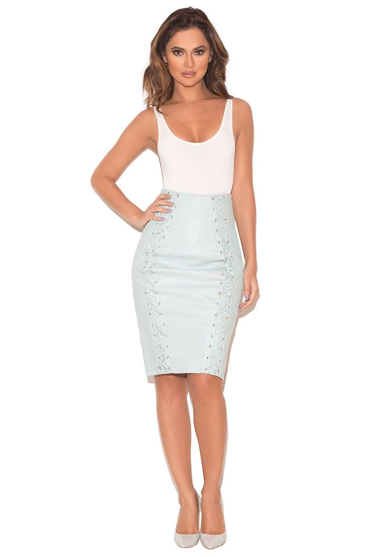 Clothing : Skirts : 'Toriola' Powder Blue Vegan Leather Pencil Skirt