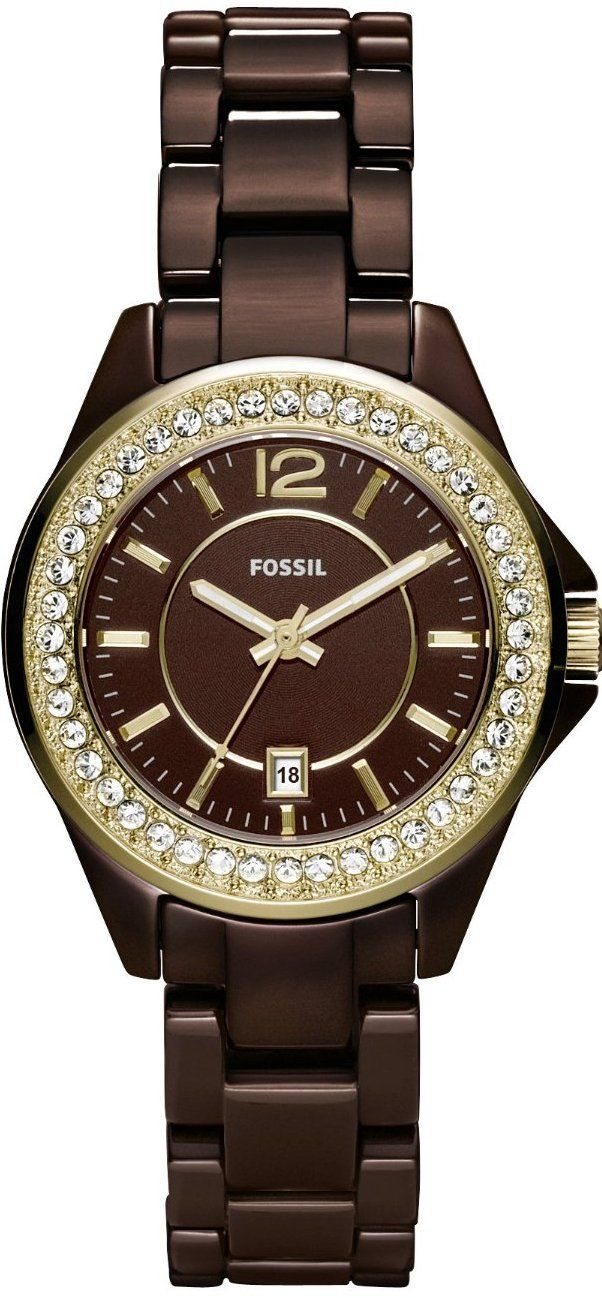 #Fossil #Watch , Riley Mini Ceramic Watch - Brown CE1055