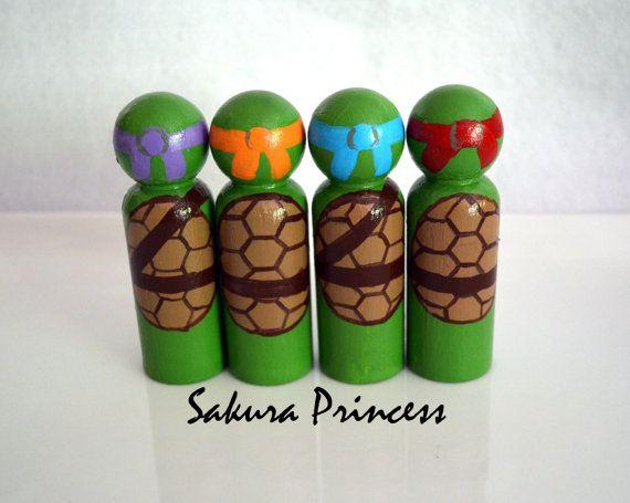 Set of 4 Ninja Turtle Peg Dolls  cake toppers  by mysakuraprincess, $40.00