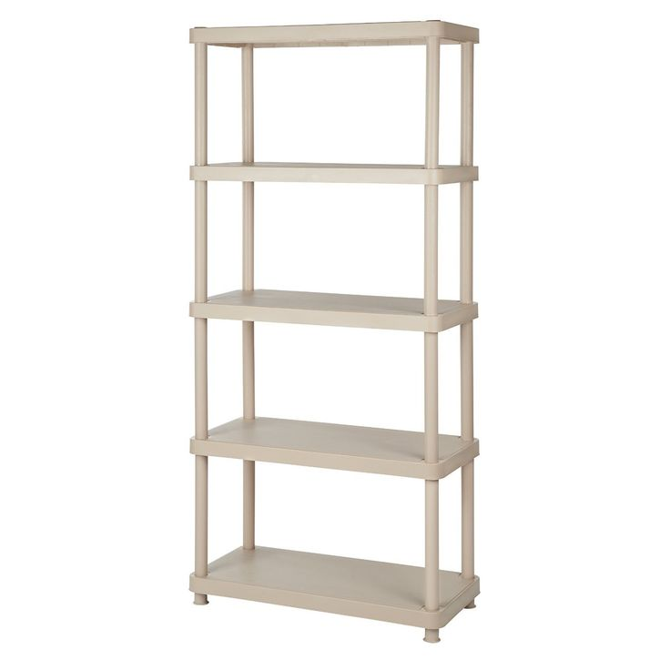 Keter 5-tier 34 in. W x 16 in. D x 72 in. H Sand Freestanding Shelve Unit Storage Rack