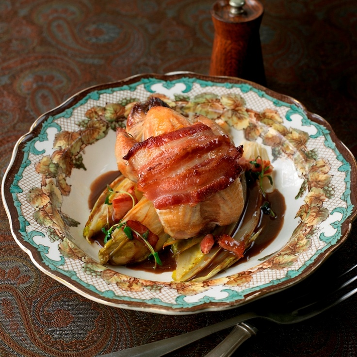 Roast partridge with bacon and chicory