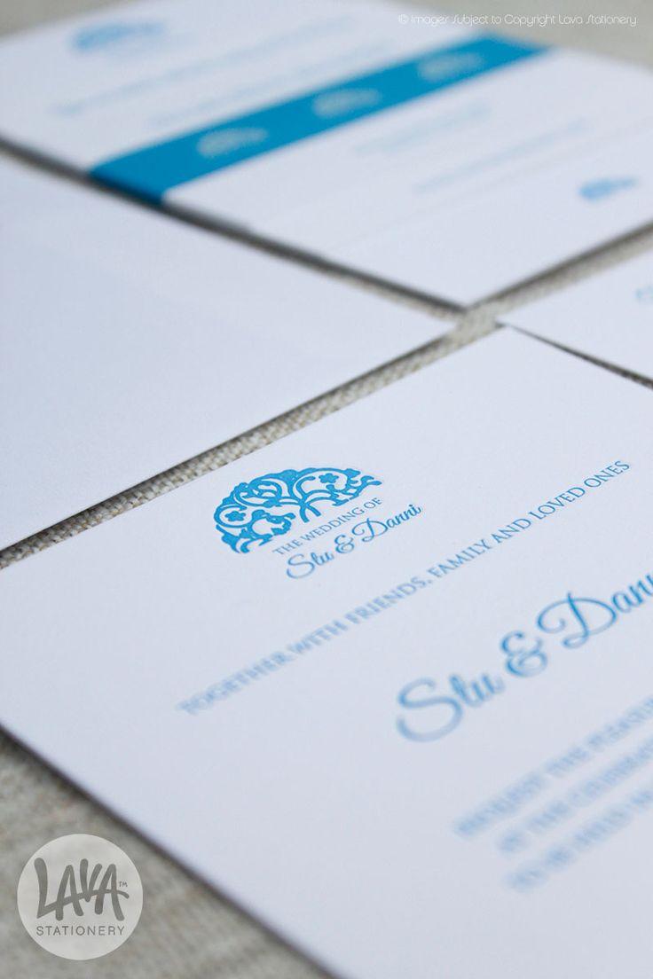 Stu and Danni Blue Letterpress Invitation Ayana Resort - www.lavastationery.com.au
