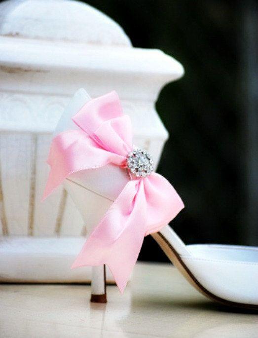 Shoe Clips Pink Satin Bow & Rhinestone / Pearls. by sofisticata, CUSTOM MADE COLORS! Wedding Heel Accessory, Valentines Day Date, Flirty Sexy Pins. http://sofisticata.etsy.com