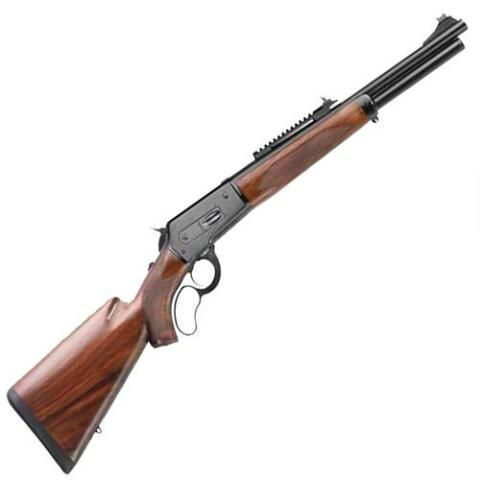 "Cimarron 86/71 ""Hogzilla Killa"" lever-action rifle, .45-70 Govt with 19"" barrel, holds 5 rounds and has walnut stock with blued metal finish"