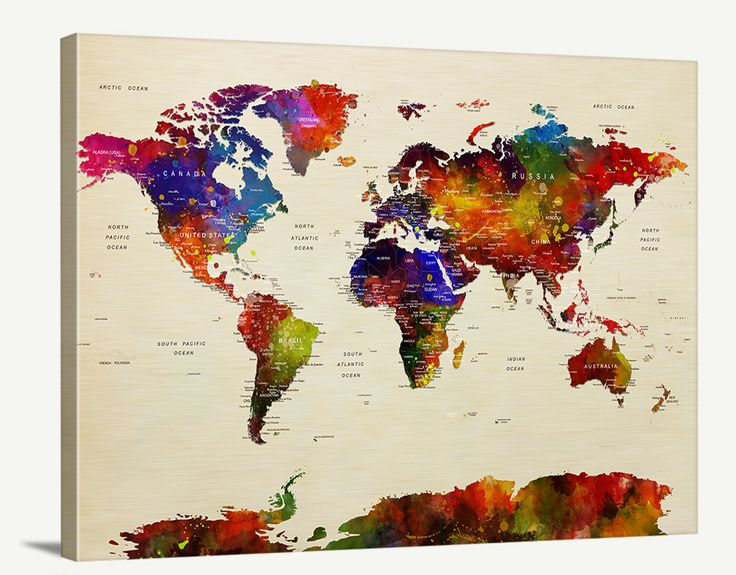 push pin world map canvas print single panel wall art watercolor world map canvas print