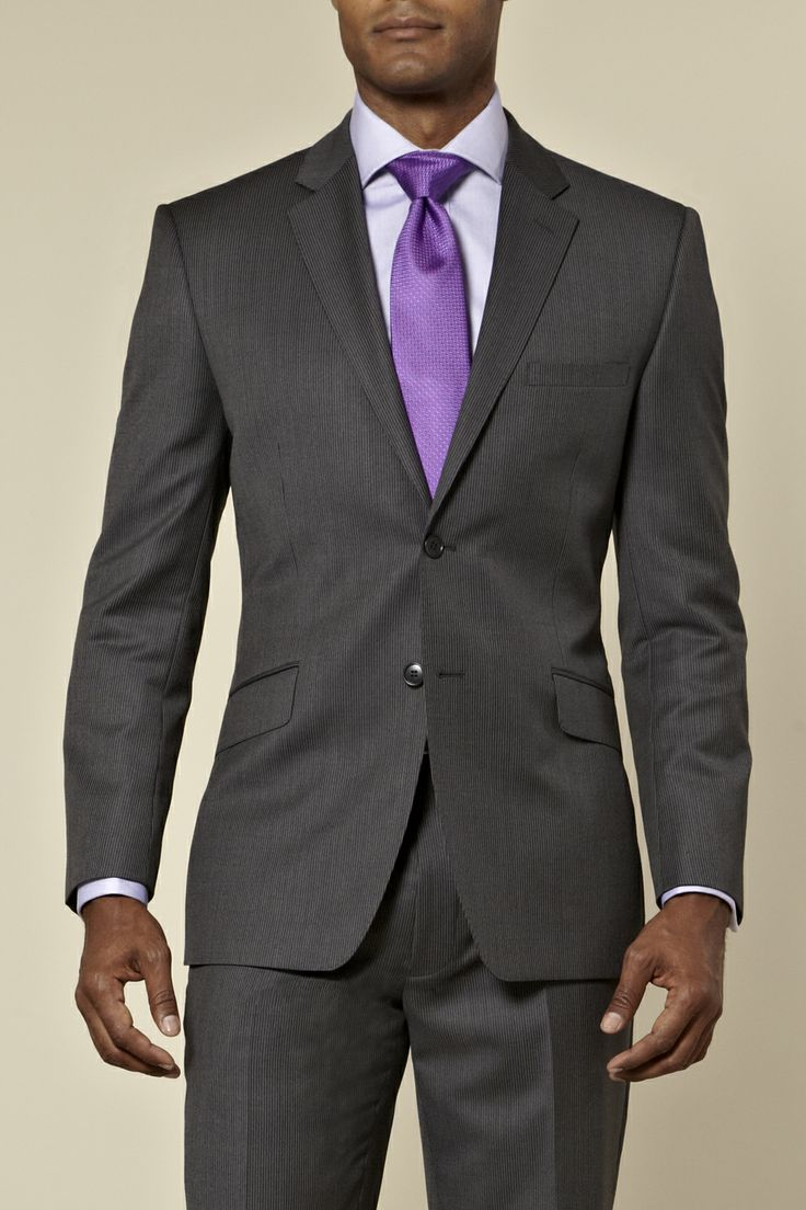 best images about dress for success men daniel hechter regular fit two button charcoal stripe mix match suit a nice purple tie work business attire to dress for success