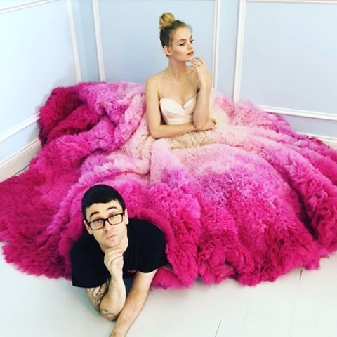 Just taking a break from shooting our pink ombré gown! Happy Friday! #christiansiriano #christiansirianobridal
