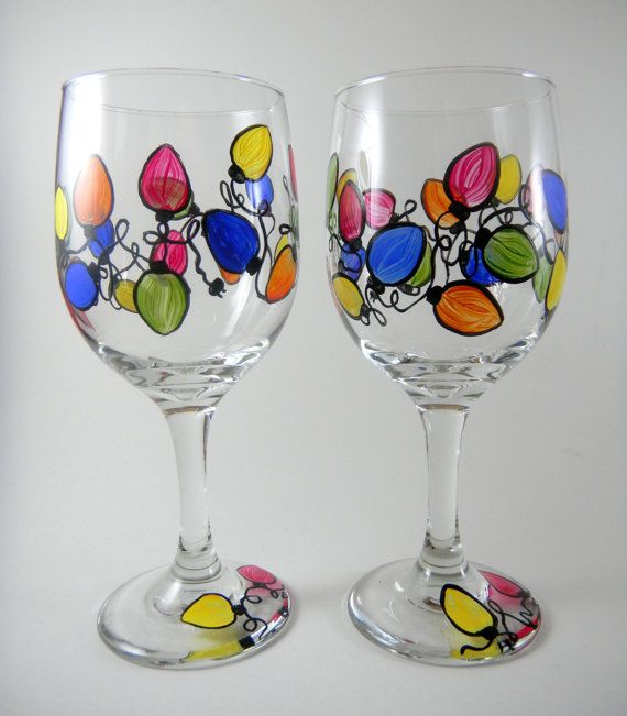 Christmas Lights, Multi-colored string, set of 2 hand painted wine glasses on Etsy, $35.00
