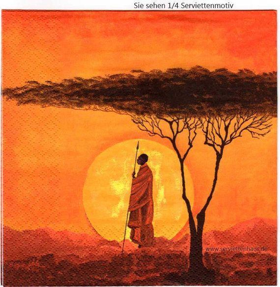 Set 2two decoupage servetten Afrikaanse door Dalilasdecoupage