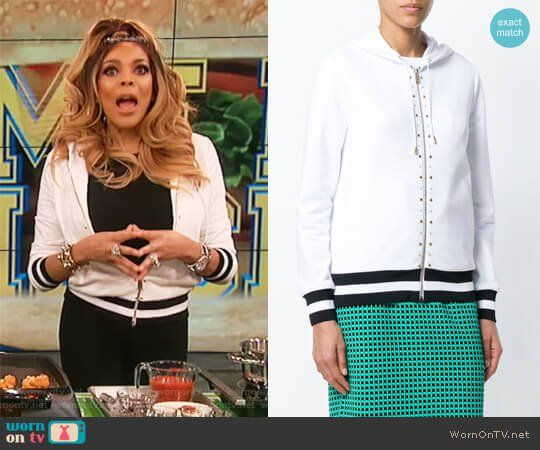 Wendy's white studded hoodie on The Wendy Williams Show.  Outfit Details: https://wornontv.net/90641/ #TheWendyWilliamsShow