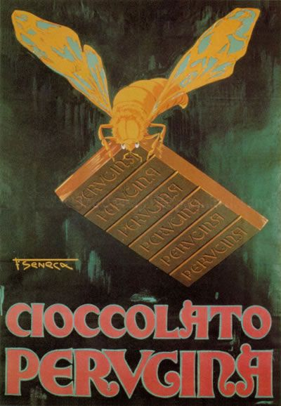 Cioccolato Pervcina vintage Italian chocolate advertisement, Federico Seneca