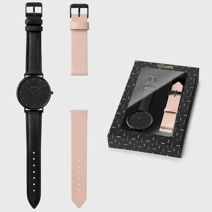 CLUSE La Bohème Gift Box Full Black   Nude Strap