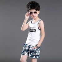 Retail 2017 Summer Child Camouflage Clothing Sets Boys Fashion Casual Splicing Vest T-Shirt Shorts 2 Pcs Kids Sports Clothes G43