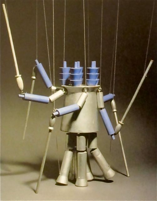"Sophie Taeuber-Arp; Lacquered Wood 'Sentry' Marionette for Production of ""King Stag"", 1918."