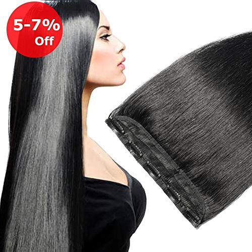 New 24 inch Clip Human Hair Extension One piece 5 Clips Soft Natural Long Remy Hair Weft Extension Fast Shipping – Off Black 1B, 60g online