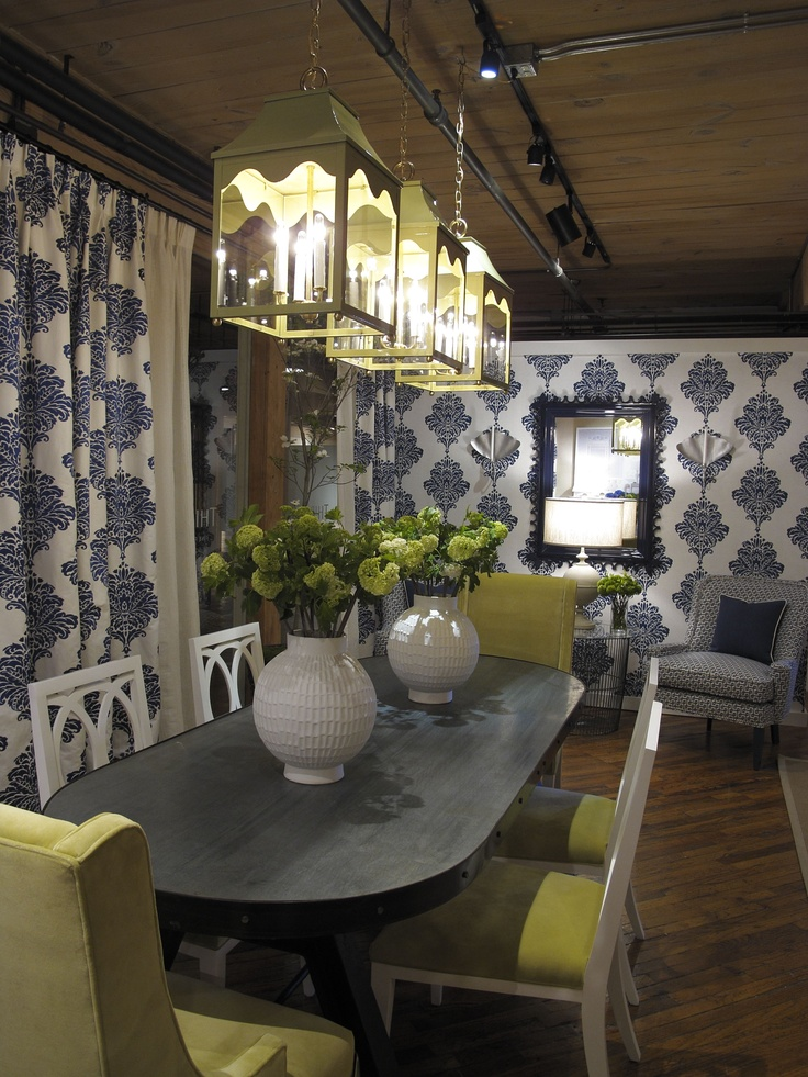 Thibaut Fine Furniture Showroom   Historic Market Square   High Point  Market Spring 2013   Arturo Damask Print On Curtains; Want For Breakfast  Area