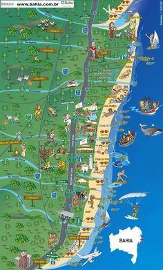 Mapa da Costa dos Coqueiros - Bahia / Mangue Seco, Costa do Sauípe, Praia do Forte