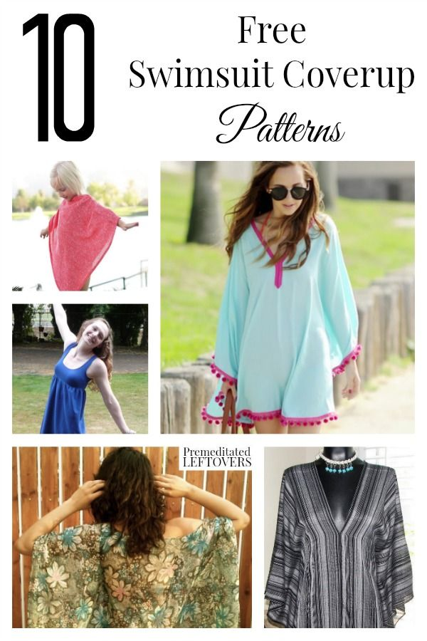 10 Free Swimsuit Cover Up Patterns including swimsuit cover up sewing patterns, easy cover up patterns and an upcycled T-shirt swimsuit cover up.