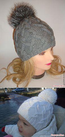Тёплая, двойная шапочка с пумпоном