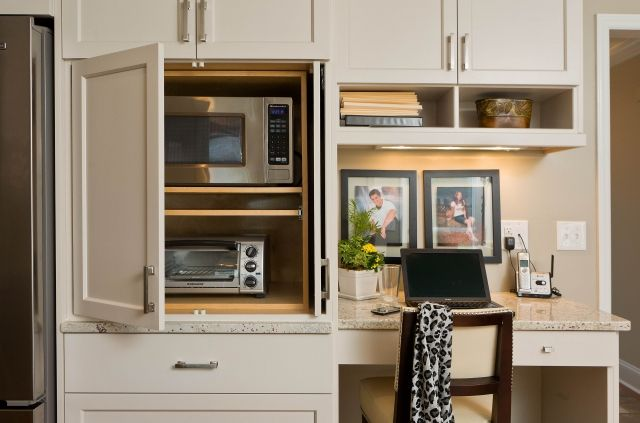 An Appliance Garage Conceals The Microwave And Toaster