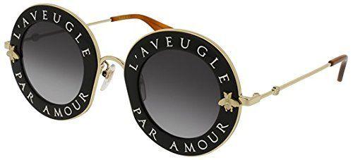 4c30938610f Sunglasses Gucci GG 0113 S- 001 BLACK   GREY GOLD